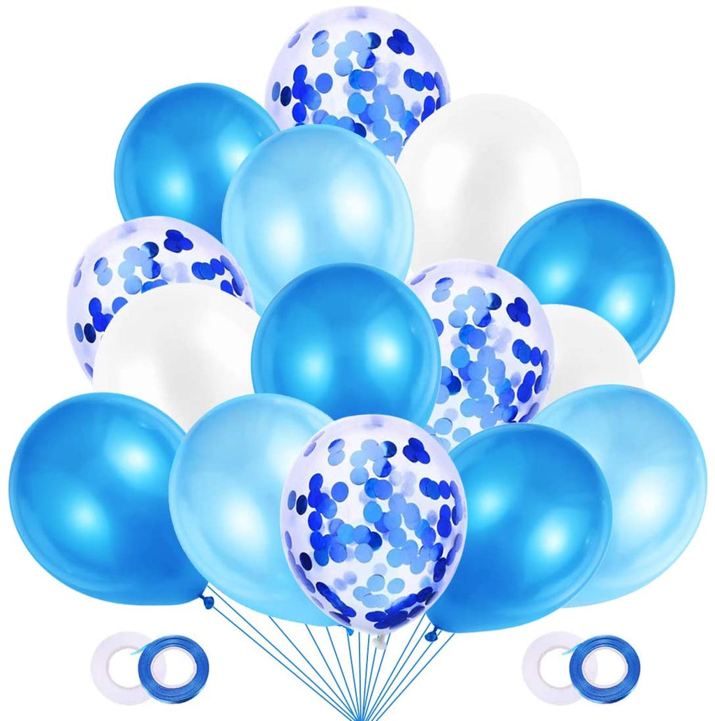 60 Blue Confetti Balloon Bunch