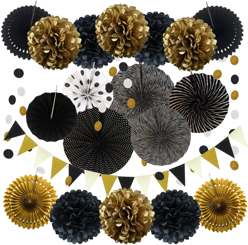 21 Piece Black & Gold Birthday Party Fans