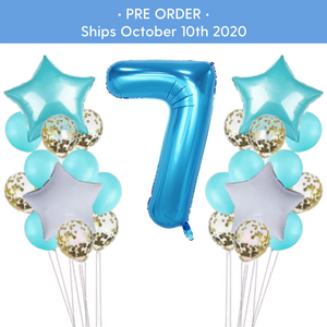 PRE - ORDER : Teal & Gold Confetti 7th Birthday Balloon Set