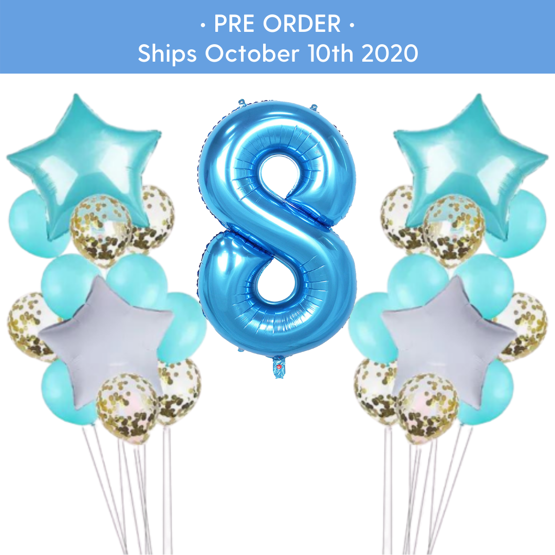 PRE - ORDER : Teal & Gold Confetti 8th Birthday Balloon Set