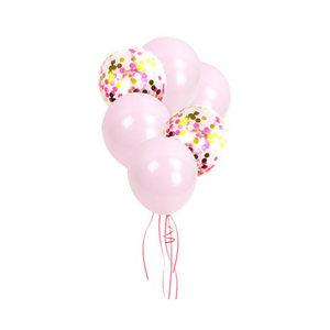 1st birthday - 13 Piece Macron Pastel Pink & Gold Confetti Party Balloons Pack