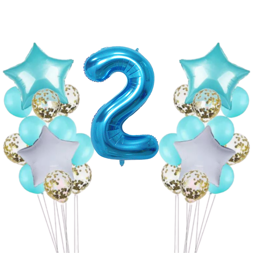 15 Piece Teal & Gold Confetti 2nd Birthday Balloon Set