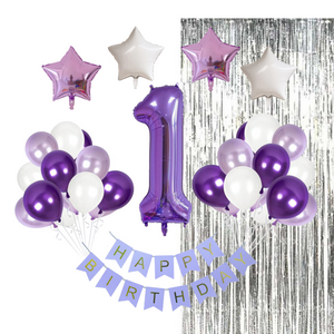 1st birthday : 23 Piece Purple Birthday Party Decorations Kit
