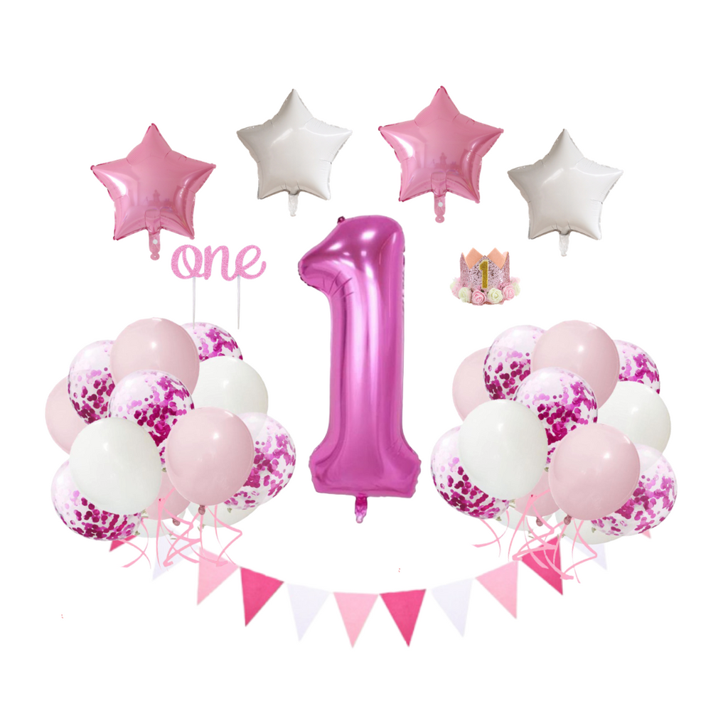 Starlight - 22 Piece Pink 1st Birthday Party Decorations