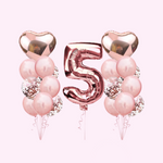 1st Birthday - 19 Piece Rose Gold Birthday Party Balloon Bunch