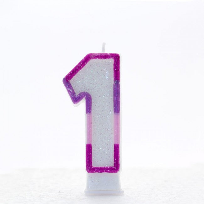 No. 1 Glitter Birthday Candle - Pink, Blue or Rainbow