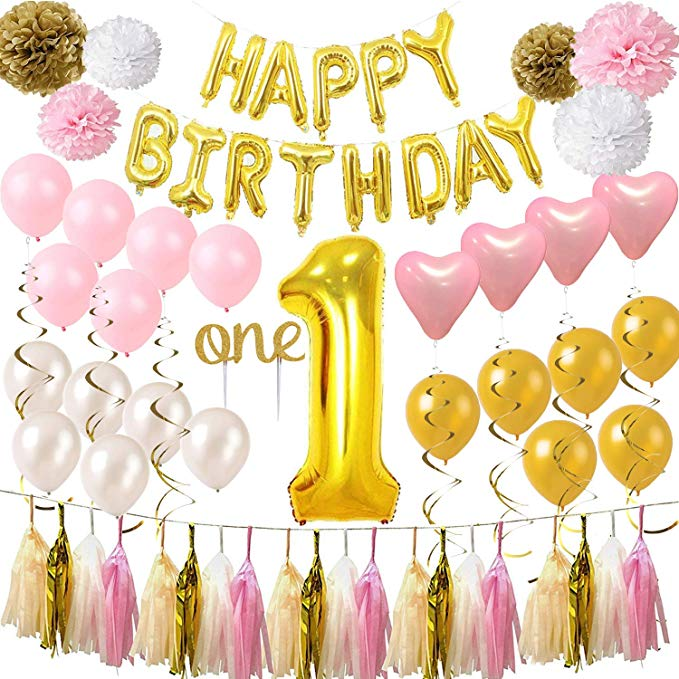 Gold 1st birthday part bundle