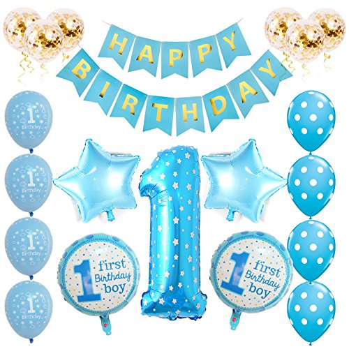 20 Piece Blue 1st Birthday Boy Party Pack
