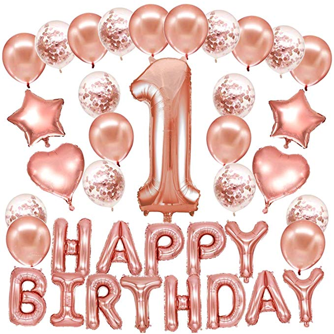 1st Birthday - 26 Piece Rose Gold Birthday Party Decorations Kit