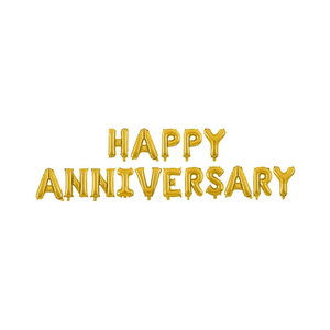 Happy Anniversary Balloon Banner - Gold