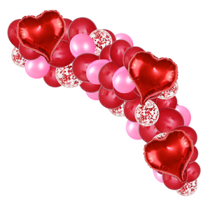 55 Piece Pink & Red Love hearts balloon cloud