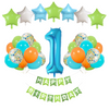 1st Birthday : 29 Piece Teal, Orange & Green Birthday Party Decorations Kit