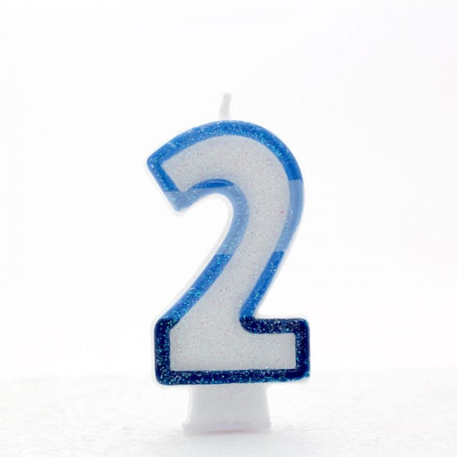 No. 2 Glitter Birthday Candle - Blue, Pink or Rainbow