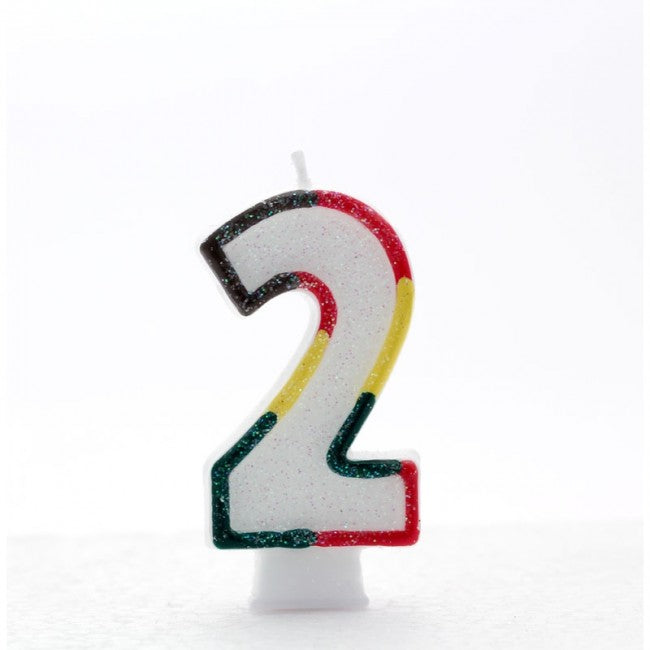 No. 2 Glitter Birthday Candle - Rainbow, Pink or Blue