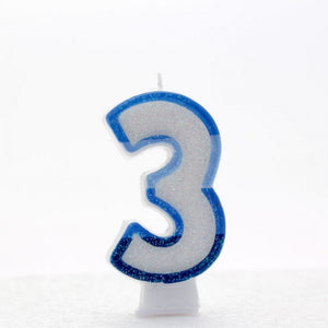 No. 3 Glitter Birthday Candle - Pink, Blue or Rainbow