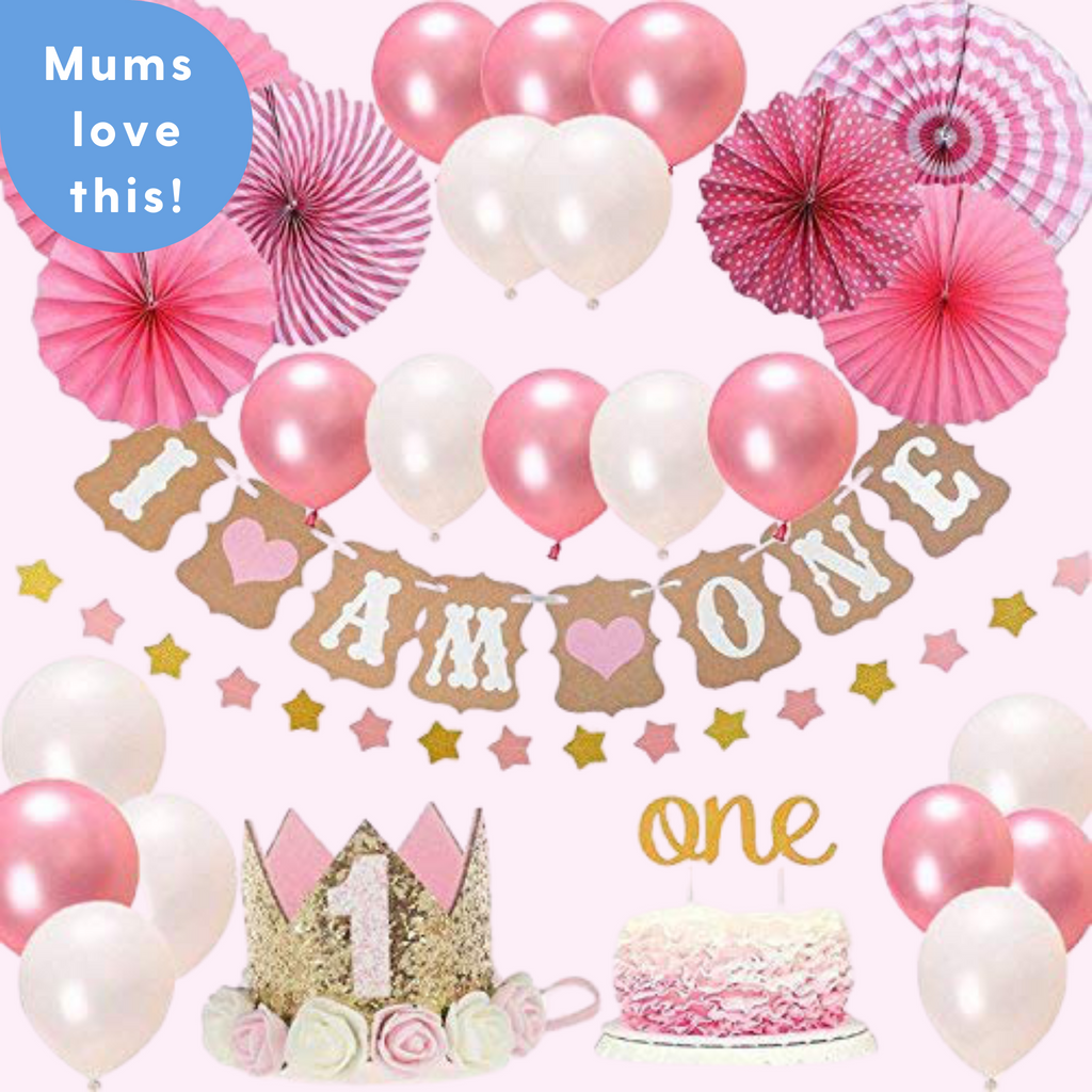 1st Birthday -28 piece Pink & Gold Party Decorations Kit