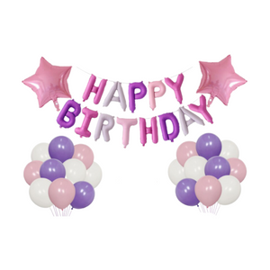 1st birthday - 22 piece Pink & Purple Party Decorations Kit