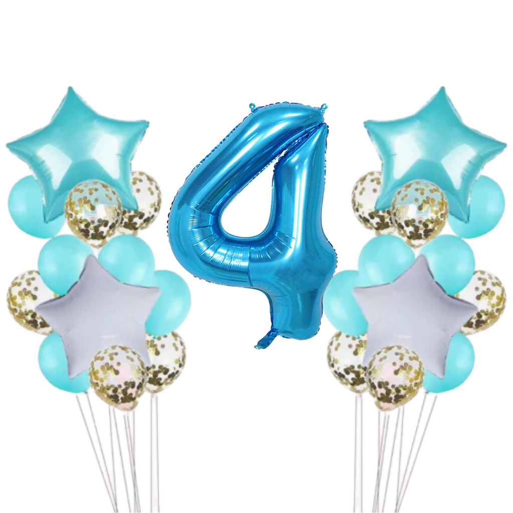 Teal & Gold Confetti 4th Birthday Balloon Set