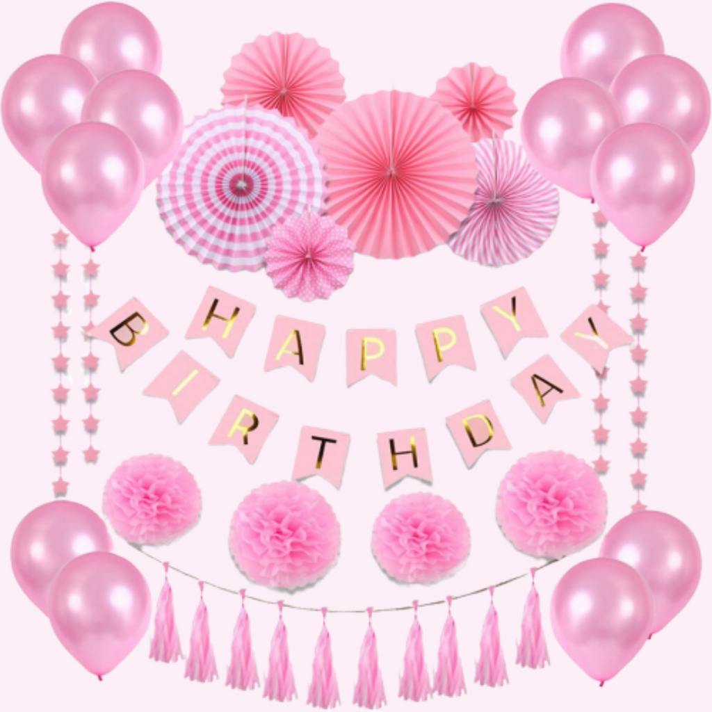 Pink Happy Birthday - 32 Piece Party Decorations Kit