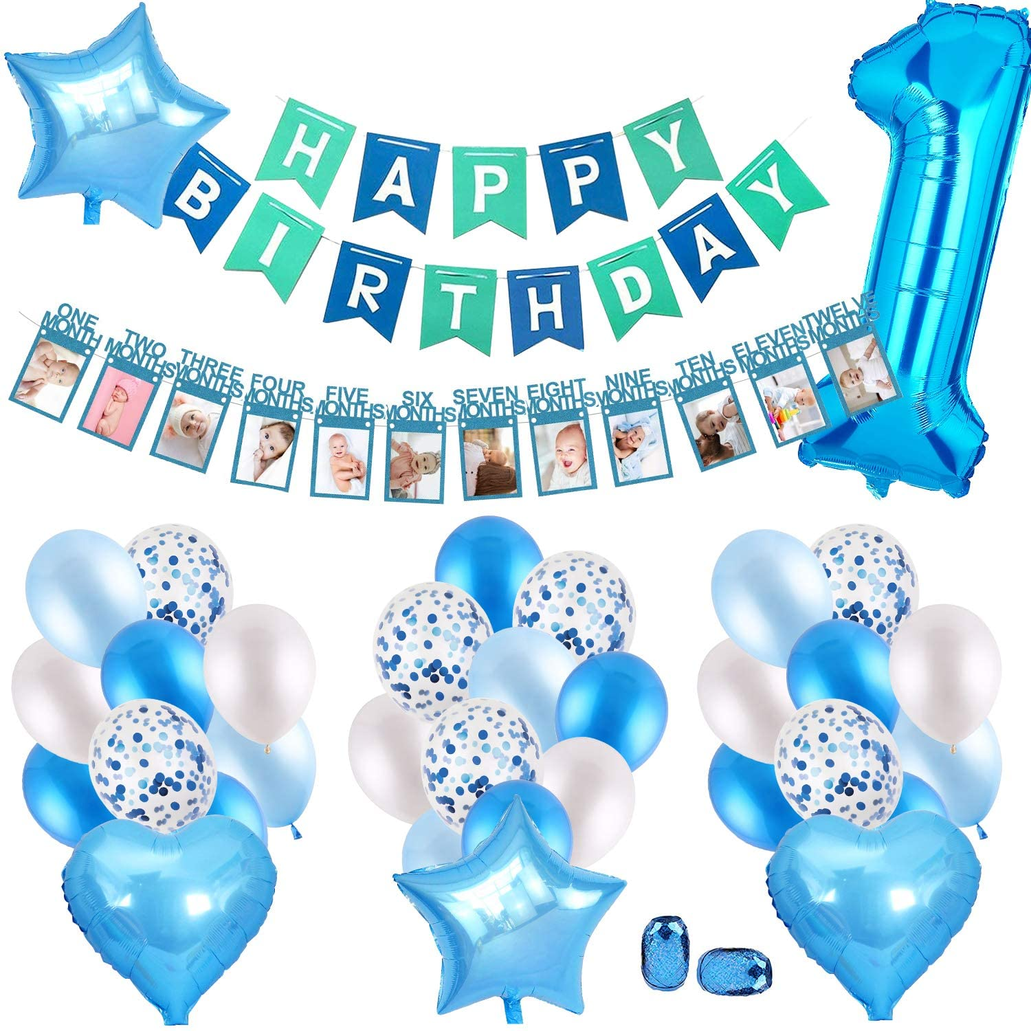 1st birthday - 25 Piece Blue and Green Photo Banner party pack
