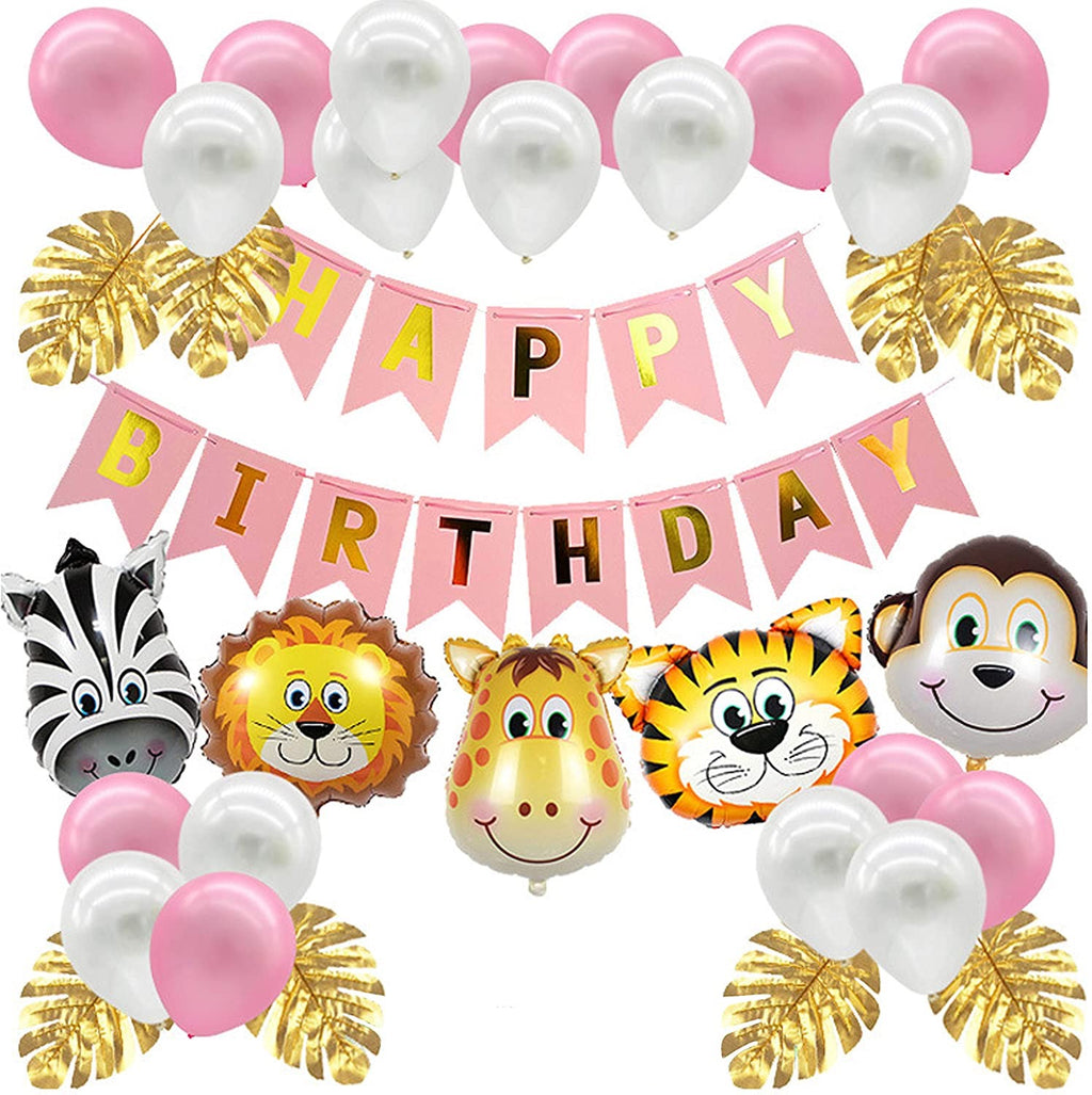 34 Piece Pink Safari Animal Jungle Party Pack