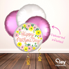 Pink & White Floral Mother's Day Balloon Bouquet - Delivered Inflated