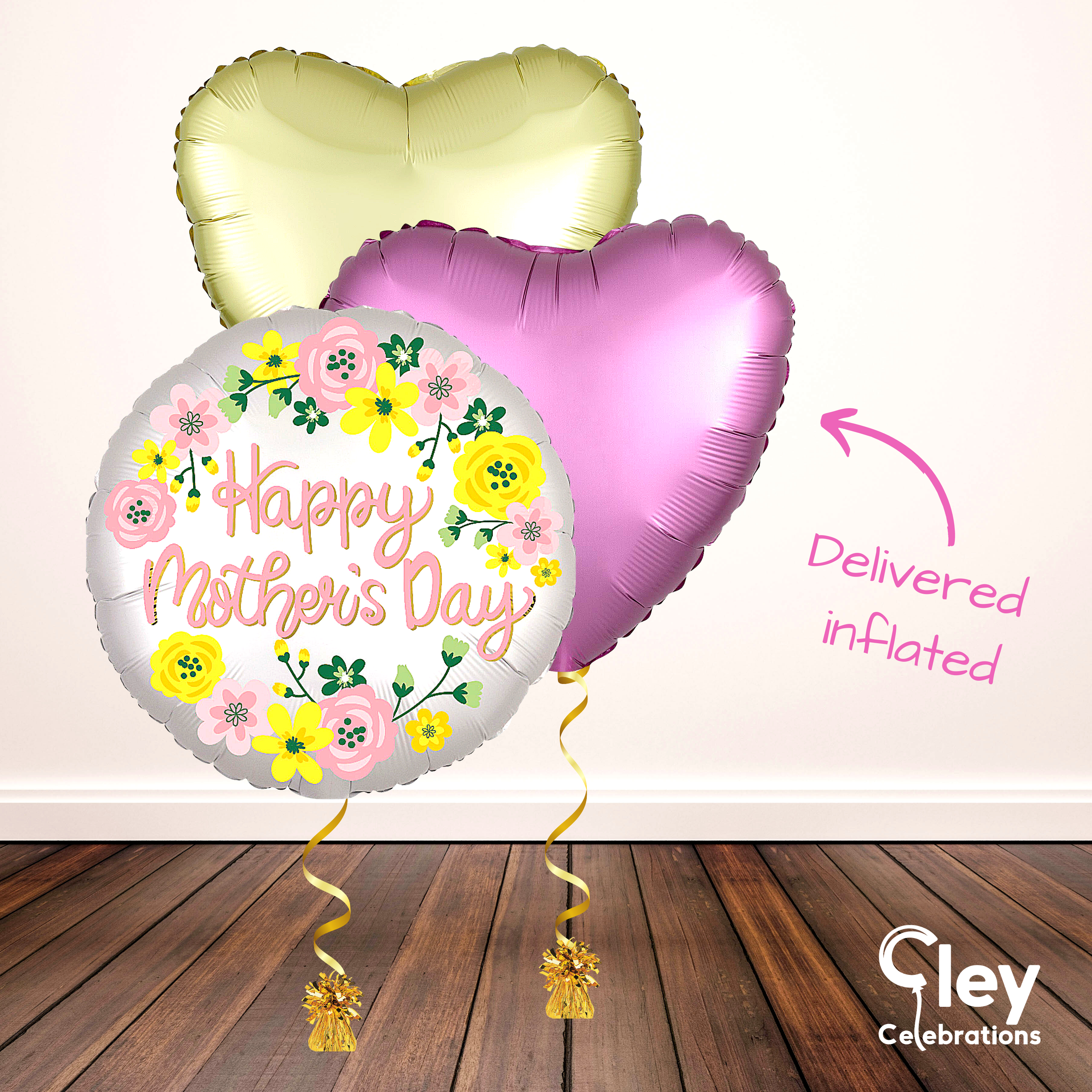 Floral Heart Mother's Day Balloon Bouquet - Delivered Inflated