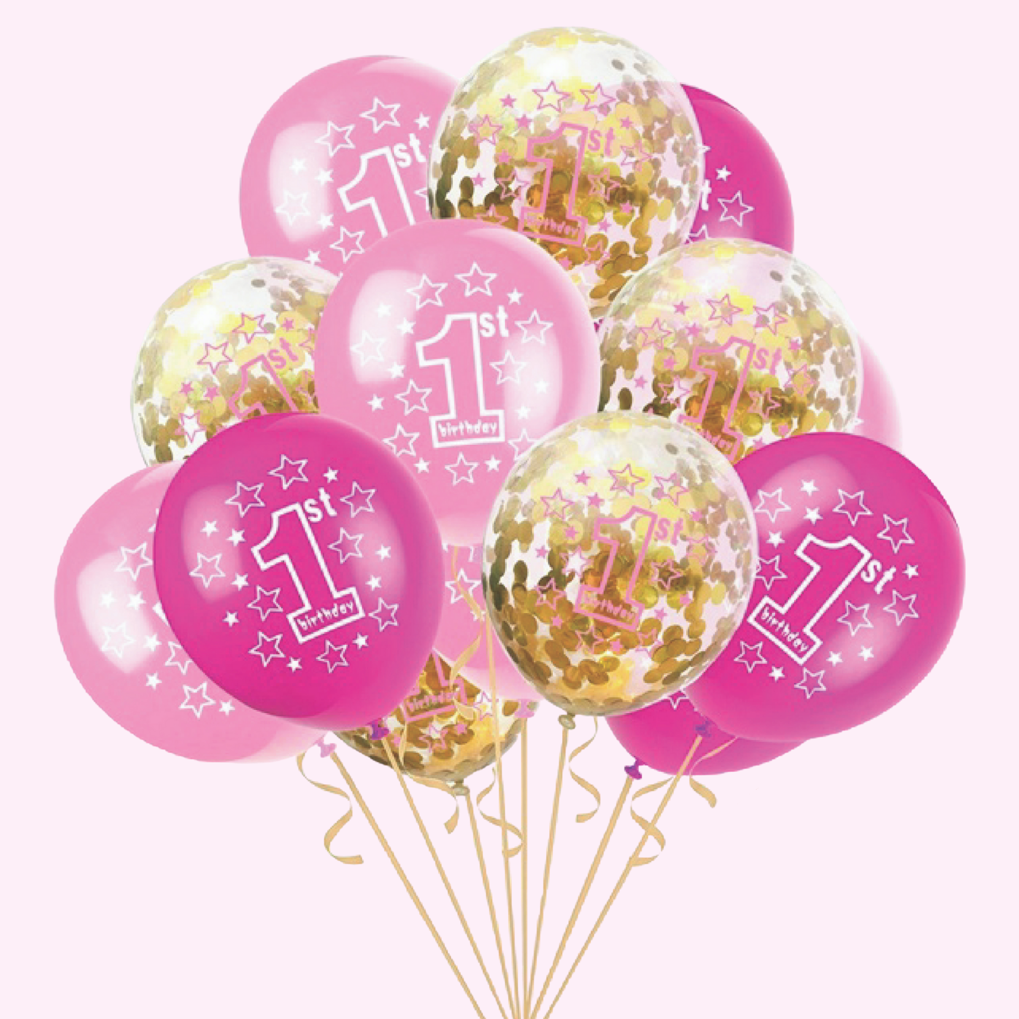 1st birthday - 15 Piece Pink & Gold Confetti Party Balloons Pack