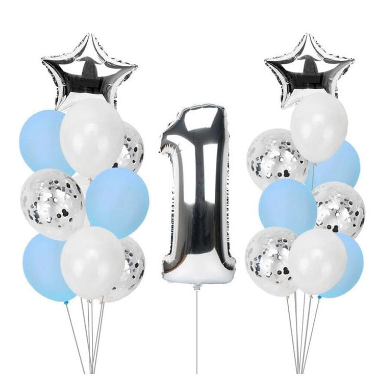 1st birthday - 21 Piece Blue & Silver Confetti Party Balloons Pack