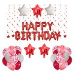 1st birthday - 33 Piece Red & White Confetti Party Balloons Pack