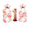 1st birthday - 21 Piece Rose Gold Confetti Party Balloons Pack