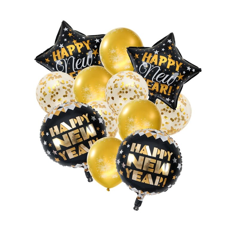 Black & Gold New Years Balloon Bunch