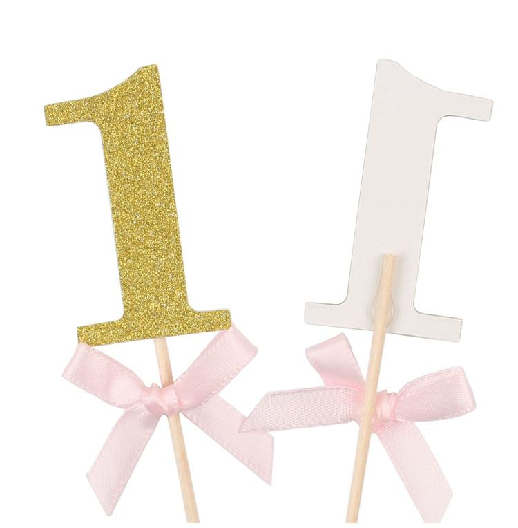 Number one, first birthday, gold, glittery cupcake toppers
