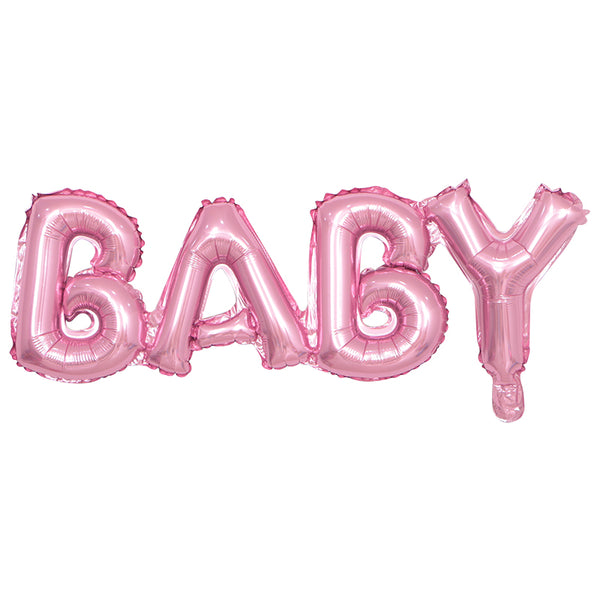 Pink, Foil, Helium and Air BABY balloon available for sale via www.cleybaby.com