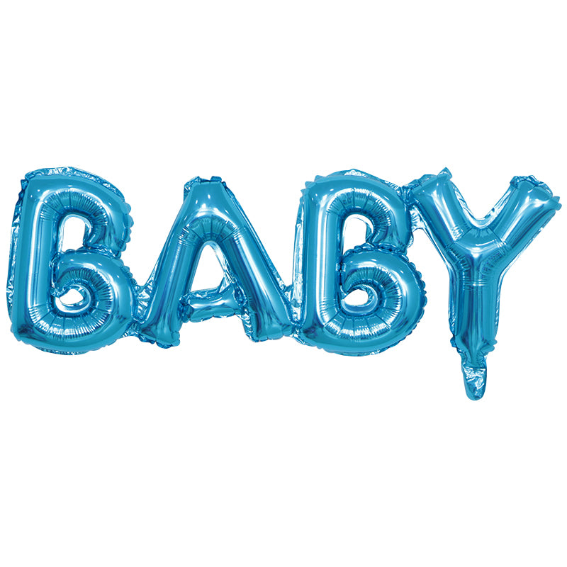 Blue, Foil, Helium and Air BABY balloon available for sale via www.cleybaby.com