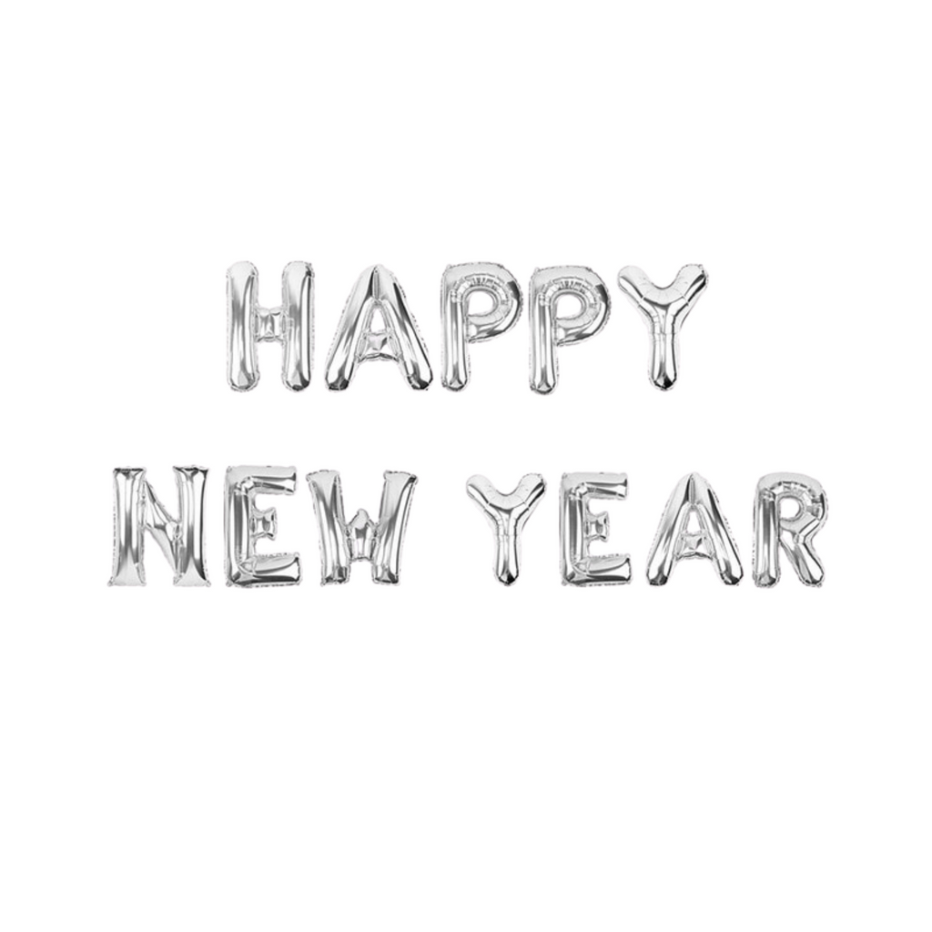Silver Happy New Year balloon banner