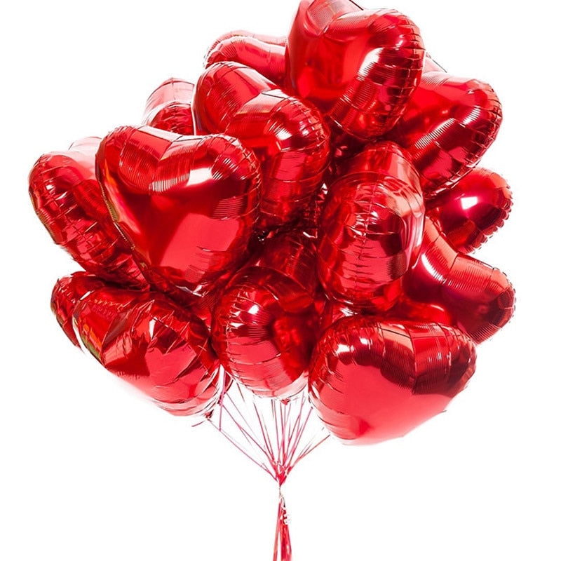 Red Heart balloon bunch