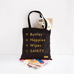 "Black ""mummy sanity"" tote bag available for sale via www.cleybaby.com"