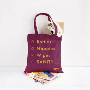 "Burgundy ""mummy sanity"" tote bag with gold foil text print available for sale via www.cleybaby.com"