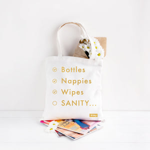 "White ""mummy sanity"" tote bag with gold foil text print available for sale via www.cleybaby.com"