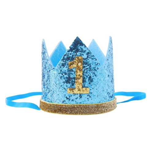 Glittery blue birthday number crown with gold number and rim