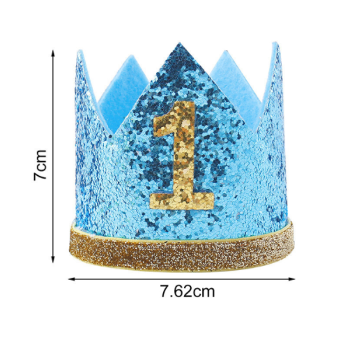 Glittery blue birthday number crown with gold number and rim with measurements