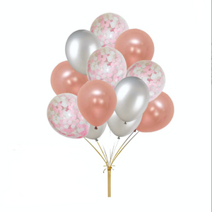 1st Birthday - 59 Piece Pink, Rose Gold & Silver Birthday Party Decorations Kit