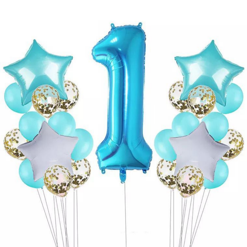 Teal & Gold Confetti 1st Birthday Balloon Set