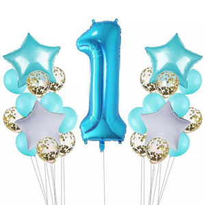 PRE - ORDER : Teal & Gold Confetti 1st Birthday Balloon Set