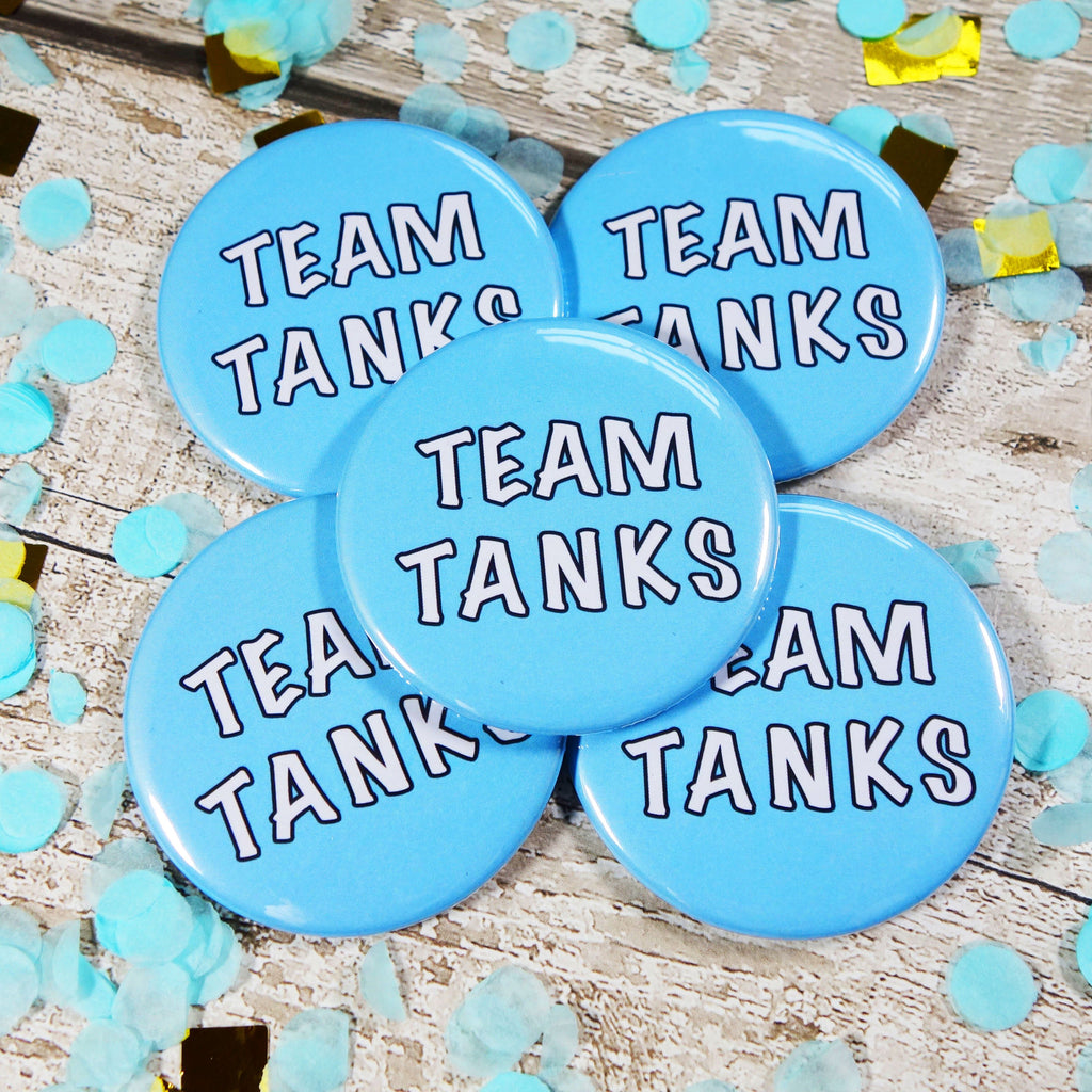Blue Team Tank Gender Reveal badges for sale via www.Cleybaby.com