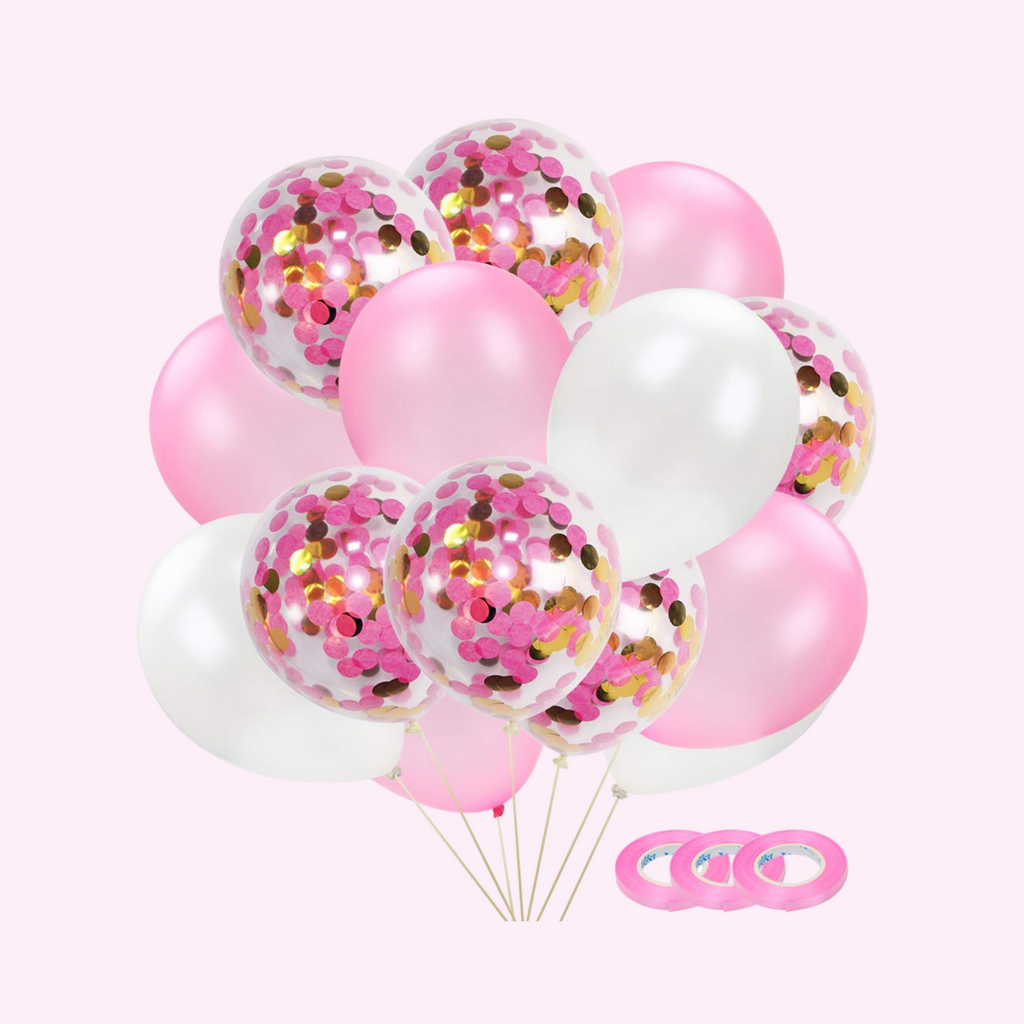 Pink and Gold Confetti Balloon Bunch