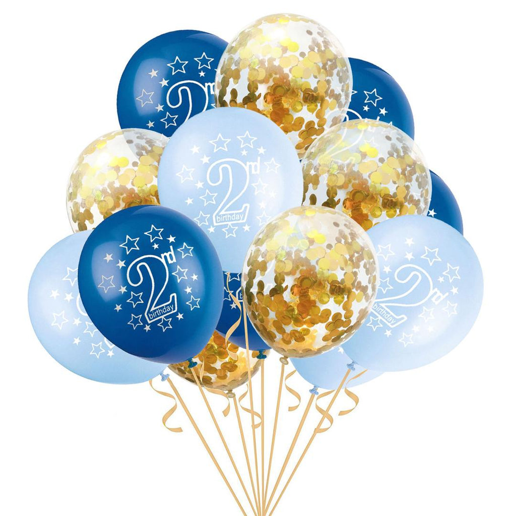 Blue 2nd Birthday confetti balloons