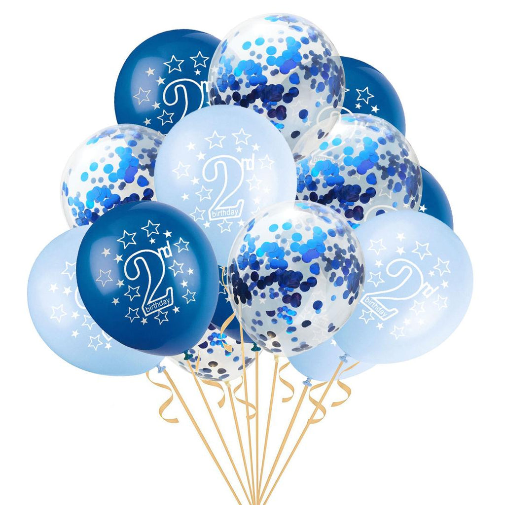 Blue & Gold Confetti 2nd Birthday Balloons