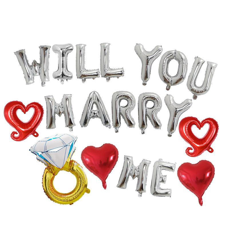 Will You Marry Me balloon banner - Silver